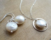 Pearl necklace & Earrings SET, Eternity necklace, Bridesmaid gifts, Sterling silver Wedding jewelry, Coin pearls, Bridal gift set