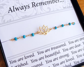 Gold LOTUS Bracelet, friendship bracelet with message card, turquoise bracelet, gold Lotus jewelry, yoga, minimal gold bracelet