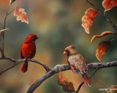 Original Painting Fall Red Bird Cardinal Cardinal Bird Wildlife