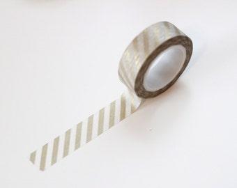 SALE Gold metallic diagonal stripe washi tape, Japanese masking tape, craft supply