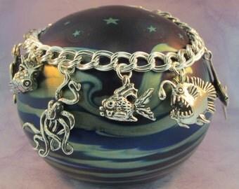 Ocean Bracelet Ocean Jewelry Ocean Odyssey Charm Bracelet - Silver Charm Bracelet - Animal Charm Bracelet Silver Charms - Animal Charms