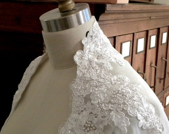Lace and Organza Bolero, 3/4 Sleeve Bolero, Custom Wedding Bolero, Custom Bridal Shrug, Wedding Jacket, Lace  Bolero, Handmade in USA