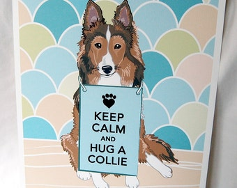 Keep Calm Collie with Scaled Background - 8x10 Eco-friendly Print
