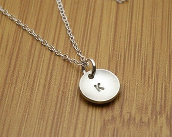 Petite Personalized Initial Pendant in Sterling Silver