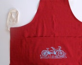 Apron - Chef's Apron - Tandem Bicycle - Choose your fabric and ink color