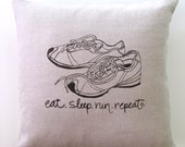 Pillow Cover - Accent Pillow - Cushion Cover - Running Shoes design - 16 x 16 inches - Choose your fabric and ink color