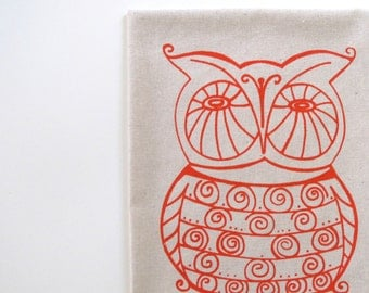 Cotton Kitchen Towel - Owl on Natural Cotton - Choose your fabric and ink color