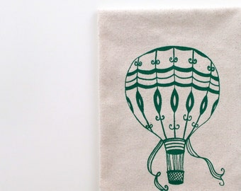 Cotton Kitchen Towel - Vintage Hot Air Balloon - Choose your ink color