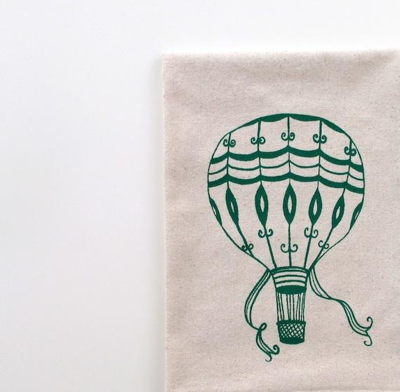 Cotton Kitchen Towel - Green Vintage Hot Air Balloon