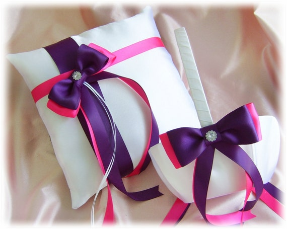 Weddings ring pillow and baskets, deep purple hot pink ring bearer pillow and flower girl basket