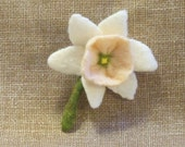 Needle Felted Daffodil Flower Pin Brooch White and Peach Pink