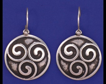 CELTIC TRIPLE SPIRAL- Earrings- Sterling Silver