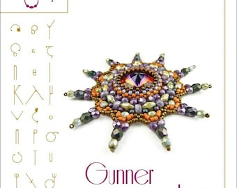 Pendant tutorial / pattern Gunner with swarovski rivoli..PDF instruction for personal use only
