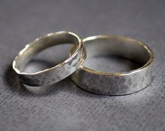 Wedding Band Set - Pond Ripple. Modern Contemporary Simple Sleek Elegant Design. Sterling Silver. Jewellery. Jewelry.