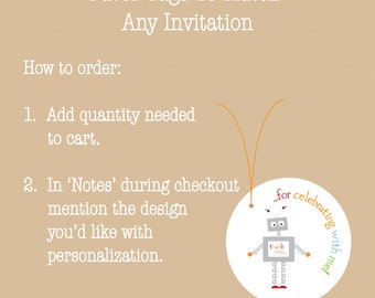 Favor Tags To Match Any Invitation