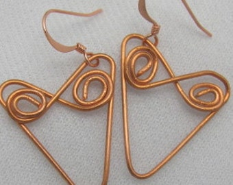 Copper Wire Heart Earrings - .Copper Twirl Earrings. Wrie Earrings.ONSALE.
