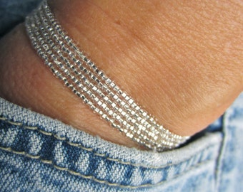Stretch Wrap Bracelet of Tiny Silver Glass Beads--Easy and Fun, Stretchy and Strong