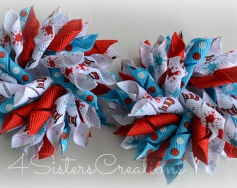 Small Korker Set Custom Print Dr Seuss Turquoise Swiss and Red