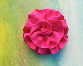 SUMMER FLOWER POWER Hot Pink Ribbon Rosette Pin....