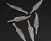 "100 Feather Charms, 1.1"" , 3D, Vintage Silver finish, wholesale, 2804AS"