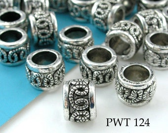Large Hole Beads Pewter Tube with Loop Pattern, 9x7mm Antique Silver (PWT 124) 12 pcs BlueEchoBeads