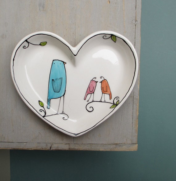 Heart shaped Valentine's day bird plate, pastel blue bird dish for her, baby shower gift by catherinereece