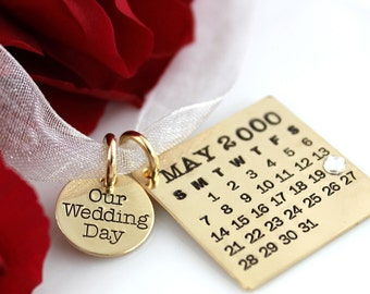 Mark Your Calendar Bouquet Charm with Our Wedding Day Charm - personalized gold filled calendar necklace / bouquet charm