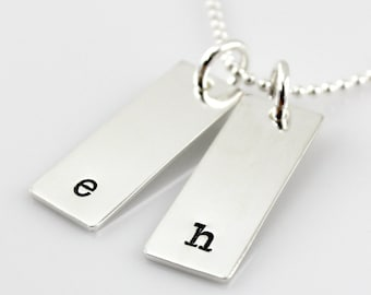 Initial Necklace - hand stamped and personalized rectangular tag necklace - simple initial necklace