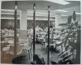 SPECIAL OFFER-vintage 1950s photo Mad Men architecture design furniture - mid century modern restaurant cafeteria interior