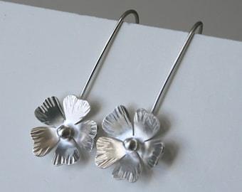 Sterling Silver Rustic Poppy Earrings, Poppy Jewelry, Silver Jewelry, Silver Earrings, Dangle Earrings, poppy Jewelry, Gift for Her, 925
