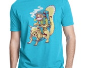 Squirrel, Mens Squirrel T-Shirt, Animal Shirt, Funny Mustache Tee, American Apparel, Turquoise, S M L XL