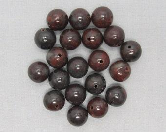 Poppy Jasper 10mm Round Beads - 20 pieces #N11-12