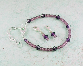 Points Tracker Weight Loss Calorie Calculator Counting Beadwork Bracelet Purple Crystals