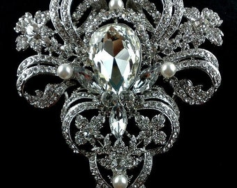 Victorian Bridal Broach, Statement Brooch, Rhinestone Dress Jewelry, Vintage Style Wedding , VICTORIA