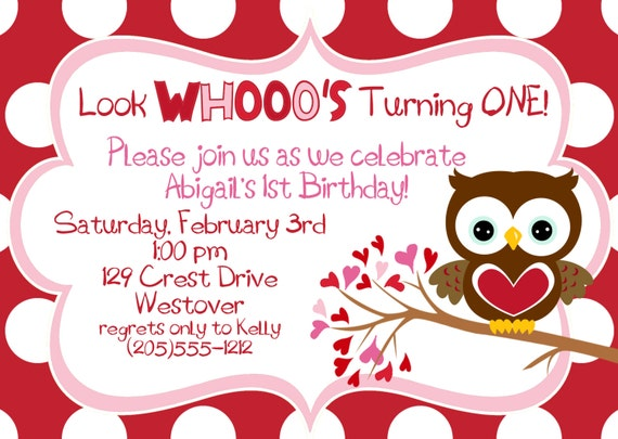 Items Similar To ValentineS Day Hoot Owl Birtday Party Invitation