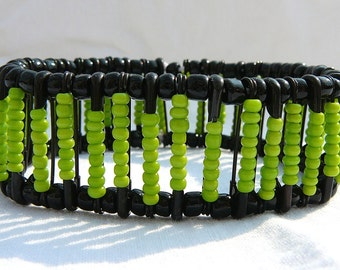 Funky Jewelry Safety Pin Bracelet--Black with Lime Green Beads--Chartreuse, Spring Green, Green Apple