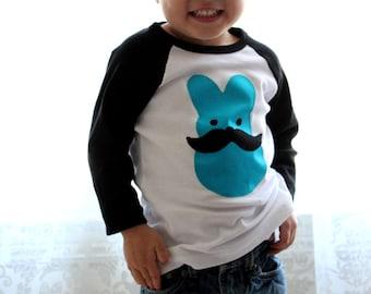 Mustache EASTER BUNNY BOYS Raglan Tee Size 3 Months-6