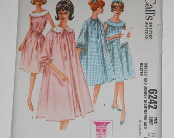 Vintage 60s Nightgown Duster Pattern McCalls 6242 Size 14 Bust 34