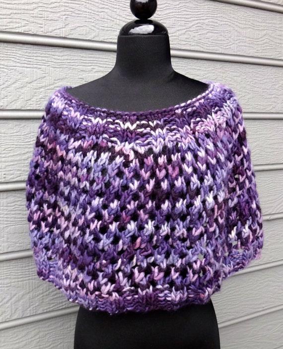Shoulder Wrap Purple Hand Knit Wool Lace by lajumpinbean