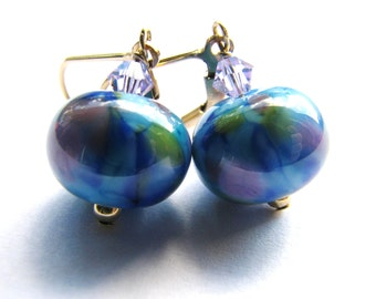 Colorful Lampwork Glass Earrings, Blue Lilac Green Purple, Swarovski Crystals, Gold Filled Earrings, Special GIFT, Ready To Ship