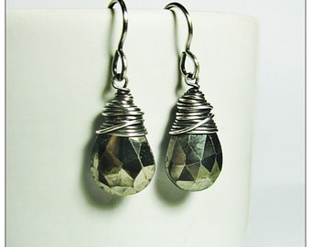 Silver Wire Wrapped Faceted Pyrite Briolettes