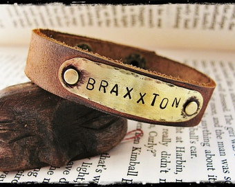 Hammered Brass and Brown Leather Name Bracelet