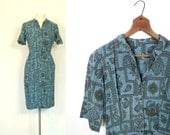 50s Wiggle Dress / Vintage 1950s Dress / Paisley Patchwork / Small S
