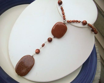 Handmade Brown Glitter Glass Beaded Necklace