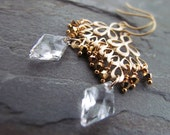SADIE-Golden Fan Drops with Diamond Swarovski Crystal and Gold Beads