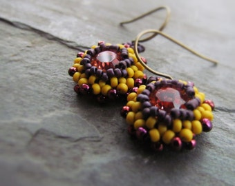MAIZE-Indian Pink Swarovski Crystal with Mustard Yellow & Maroon Seed Bead Chandelier Earrings