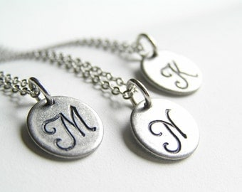 Antique Silver Little Monogram Personalized Initial Necklace