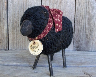 Black Wooly Sheep, Rustic Country Farmhouse Decor, Checkered, Handmade, Animal, Barnyard, Ewe, Flock,  Baa Baa Black Sheep