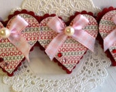 SALE - Sweet Valentine's Day Embellishments - Set of 3 Heart tags.