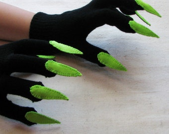 Gloves with claws, black and lime green, for Halloween costume or pretend play, one size stretch glove